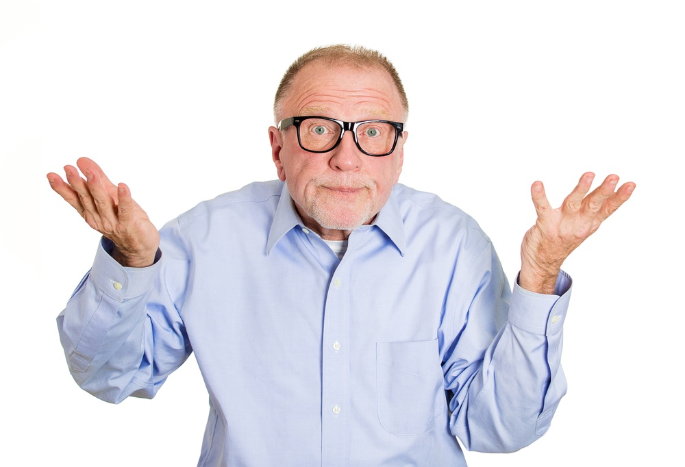 Closeup portrait, dumb clueless senior mature man, arms out asking why what's the problem who cares so what, I don't know. Isolated white background. Negative human emotion facial expression feelings.jpeg